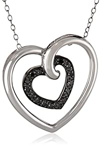 Sterling Silver Black Diamond Heart in Heart Pendant Necklace (.17 cttw), 18