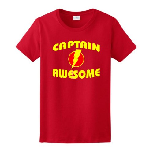 Captain Awesome Ladies T-Shirt Small Red