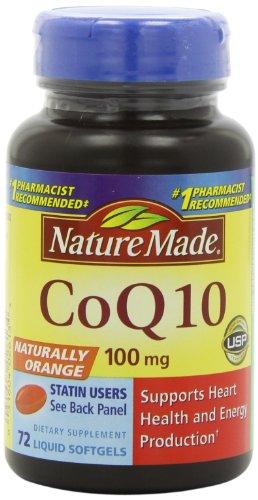 Nature Made CoQ10, Naturally Orange, 100mg, 72 Softgels
