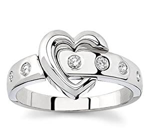 18k White Gold or Yellow Gold Diamond Heart Ring (H/SI2, 1/7 ct. tw.)