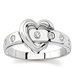 18k White Gold or Yellow Gold Diamond Heart Ring