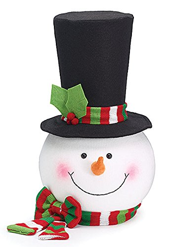 Snowman Head with Top Hat & Red/Green Scarf Christmas Tree Topper