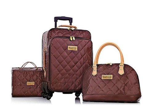 Joy & IMAN 4-piece Iconic Quilted Patent Luggage Set