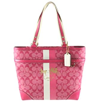 coach heritage stripe signature book bag purse tote 13196 magenta handbags