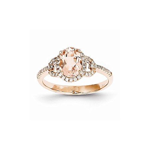Perfect Jewelry Gift 14K Rose Gold Morganite & Diamond Ring
