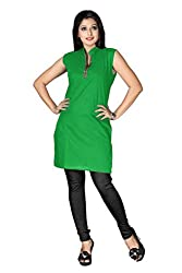 Shahlon Women's Green Crepe Kurti Fabric
