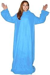 Soft Fleece Blanket with Sleeves - (Sky Blue)