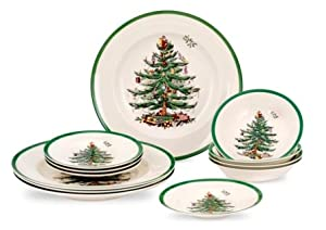 Spode Christmas Tree 12 Piece Dinner Set