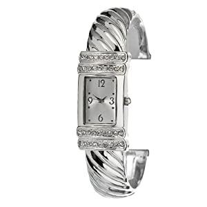 FMD Silver Bangle Crystal Accented Womens Watch FMDCT403