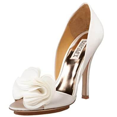Badgley Mischka Women's Randall Open-Toe Pump,White Satin,5 M US