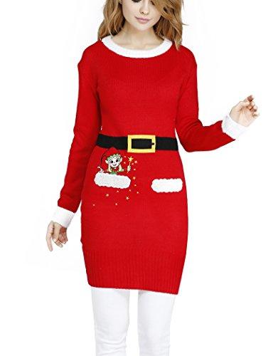 v28 Women Girl Christmas Cute Santa Embroidered Knitted Deer Pullover Sweater Jumper (M, Santa Suit)