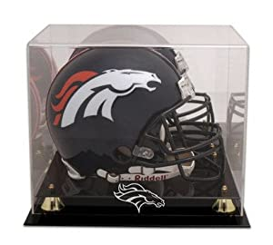 Denver Broncos Golden Classic Helmet Display Case with Mirror Back by Mounted Memories