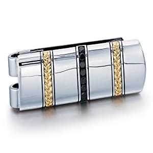 **Clearance** Men's J.GOODMAN Sterling Silver/18k Moneyclip with 3/4ct tw Black Diamonds **while supplies last**