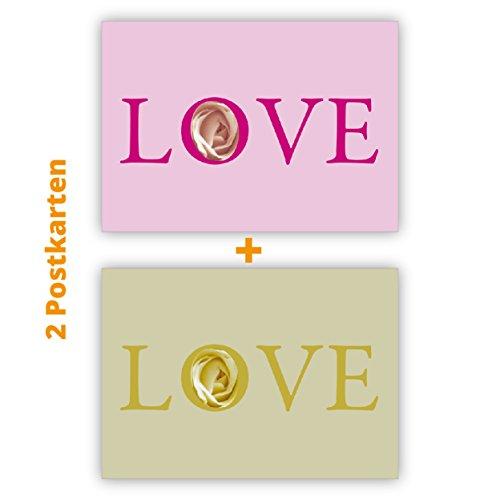 2 Rosen Liebes Postkarten (Postkarten-Set): Love Postkarten (Postkarten-Set)-Set in beige und rosa