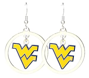 Buy NCAA West Virginia Mountaineers Floating Logo Hoop Earrings by aminco