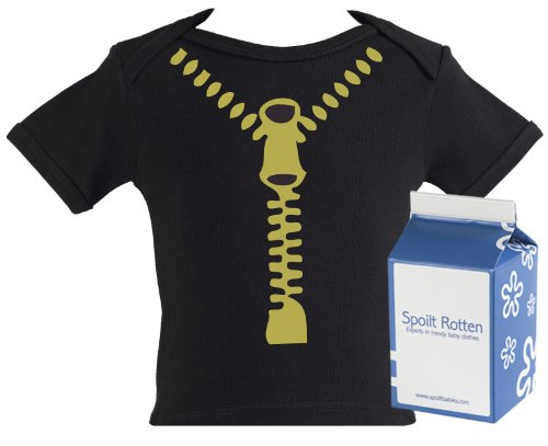 Spoilt Rotten - Zipper Baby & Toddler Retro T-Shirt 100% Organic Sizes 0-6 months BLACK + in funky Milk Carton
