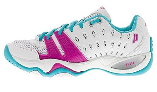 Prince Women's T22 Tennis Shoe-White/Aqua-8.5