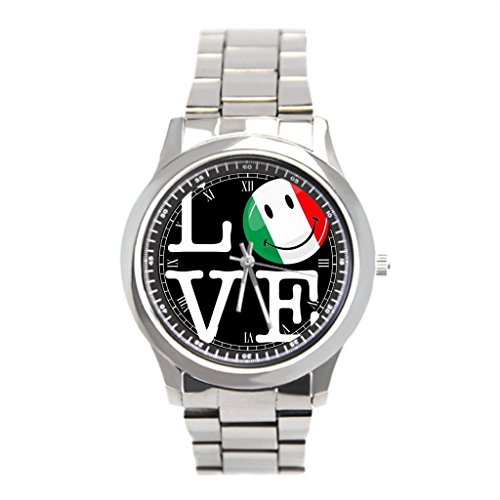 Fatbeauty Stainless Steel Back Watch Round Italian Flag Souvenirs Wrist Watch Bands (Italian Flag Souvenir compare prices)