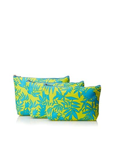 Indian Summer Women's Leaf Print Cosmetic Bags (Set of 3), Persia Teal