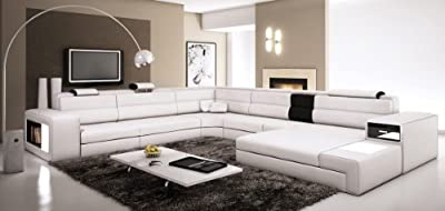 Polaris - White Contemporary Leather Sectional Sofa