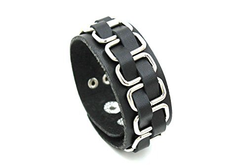 Modern Fantasy 2015 Leather Woven Adjustable Length Wrap Bracelet with Steel Silver-tone, 8.15-Inch