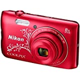 Nikon Coolpix A300 20.1MP Point and Shoot Camera with 4x Optical Zoom (Red Pattern)