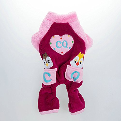 Pesco Plush Dog Winter Jumpsuit Cute Packet Pattern Dog Coat Pet Cat Dog Hoodie Clothes Dog Costume (Pink, X-Large) front-226064