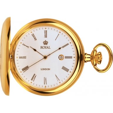 Royal London Pocket Watch 90008-02 Gold Plated Half Hunter