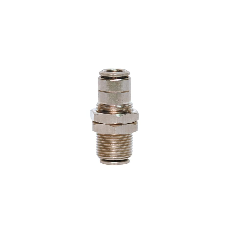Brennan PCNB2700 08 08 Nickel Plated Brass Push to Connect Tube Fitting, Bulkhead Connector, 1/2 Tube OD