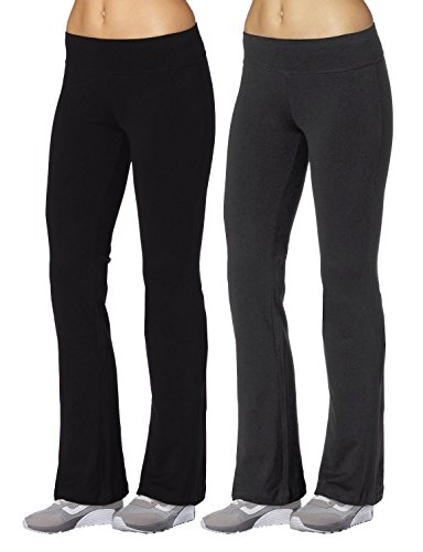 Aenlley Womens Workout BootLeg Athletica Yoga Pants Spanx Gym Fitness Activewear Color Black+Grey Size S (Wholesale Clothing Women compare prices)