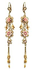 Victorian Elegance Michal Negrin Dazzling Dangle Earrings Ornate with Vintage Roses, Hand Painted Flowers, Dangle Hyacinth Flowers, Falling Beaded Chains Cluster, Accented with Pink, Gold and Beige Swarovski Crystals