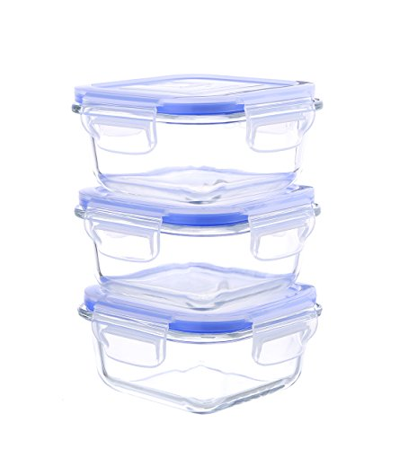 Kinetic Go Green Glasslock Elements Series 6-Piece Square Food Storage Container Set includes 3 Containers and 3 Vented Lids 55094 (4 Oz Freezer Containers compare prices)