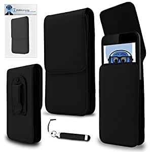 iTALKonline HTC First Black PREMIUM PU Leather Vertical Executive Side Pouch Case Cover Holster with Belt Loop Clip and Magnetic Closure and Re-Tractable Captive Touch Tip Stylus Pen with Rubber Tip