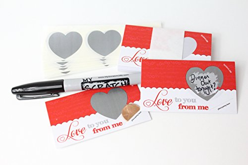 LoveNotes, Love Coupons, DIY Love Notes Scratch-Off Mini Cards Kit, Create your own Love Messages, Write your own Romantic Vouchers, Red White Silver Scratch Off Heart, (25 cards) My Scratch Offs, LLC