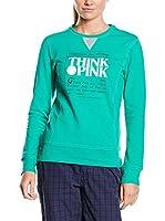"THINK PINK Sudadera Felpa Donna Girocollo""Think Pink""In Cotone Con Logo Stampato Centrale (Verde)"