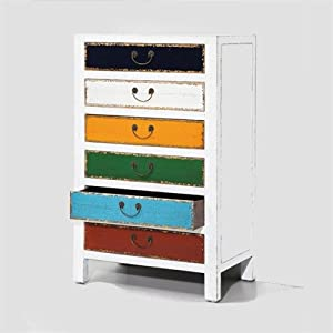 hochkommode harlekin weiss holz schrank 6 bunte schubladen. Black Bedroom Furniture Sets. Home Design Ideas