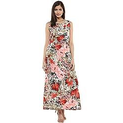 Bhama Couture Multicolour Floral Long Crepe Maxi Dress