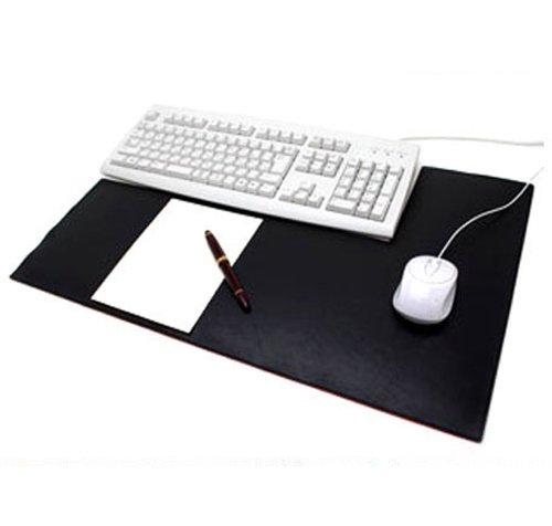 キーボードが置きやすい 本革 レザーデスクマット L型 (ブラック)