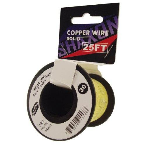 Shaxon So14-25Yl Solid Copper Wire On Spool, 25-Feet, Yellow