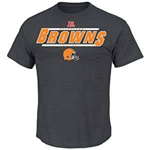 NFL Cleveland Browns Men's Control the Clock II Short Sleeve Tee, Charcoal, Large