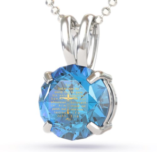 Sterling Silver Crucifix Necklace with John 3-16 Imprinted in 24kt Gold on CZ. Blue Topaz Color