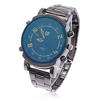 Shengdaa1404 Blue Dial Flame Pointer Movement Big Numbers Watches with Plating Tungsten Steel Strap
