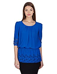Madame Women's Body Blouse Top (M1318621_Royal_S)