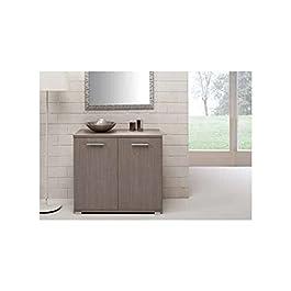 Mobile multiuso in legno nobilitato per interno larice grigio 90x80x48
