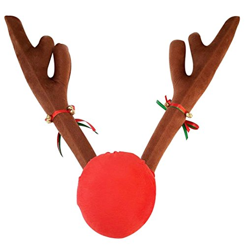 LORCOO® Plush Rudolf The Reindeer Antlers and Red Nose Car Set - Christmas Festive Accessory (Holiday Car Costume)