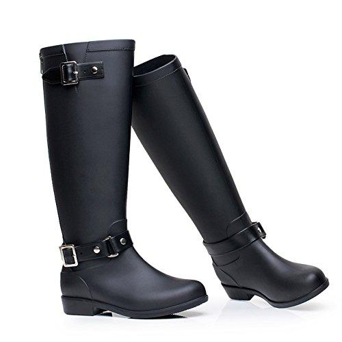 Acqua alla moda scarpe stivali alto fibbia stivali zip High-end Stivali donna stivali da pioggia impermeabile, traspirante , black , 41