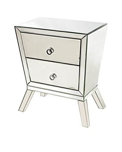 Artistic Mirrored 2-Drawer Side Cabinet, Clear