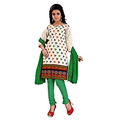 FabDesire Kashish Green Cotton Embroidered Unstitched Dress Material