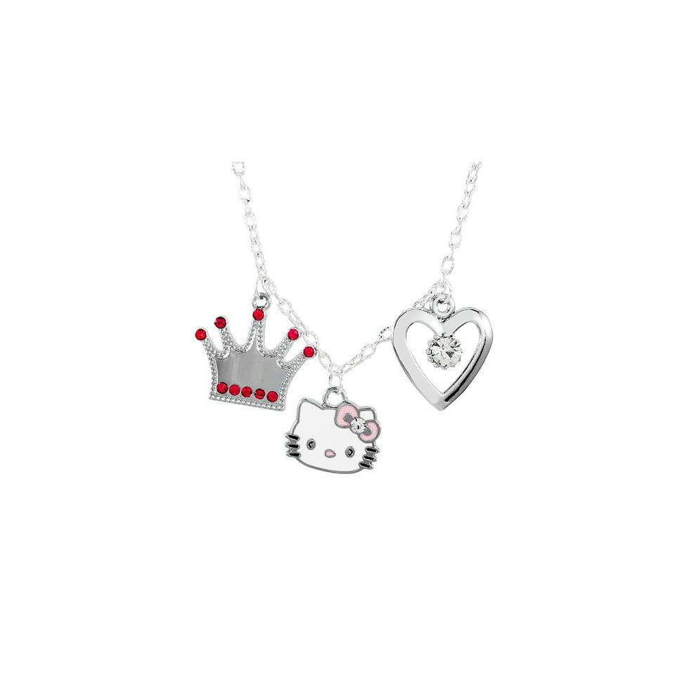 3 Charm Necklace with Rhinestone Accents   Crown, Hello Kitty, Heart