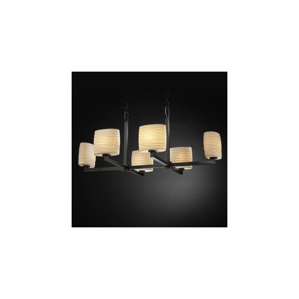 Justice Design POR 8826 30 WAVE ABRS Six Light Brass Up Chandelier ModularCollection